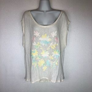 American Eagle Floral Embroidered Crochet Boho Top